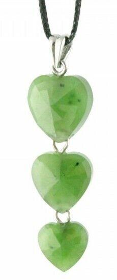 Faceted 3-Heart Genuine Natural Green Nephrite Jade Pendant