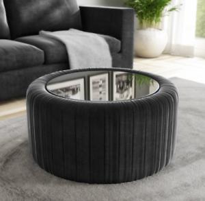 Ottoman Coffee Table Round Storage Pouffe Vintage Velvet Fabric Large Footstool Ebay