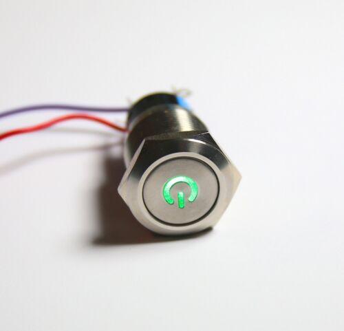 Einbauschalter rastend Taster Druckschalter 19 mm max 250V 5A Edelstahl LED