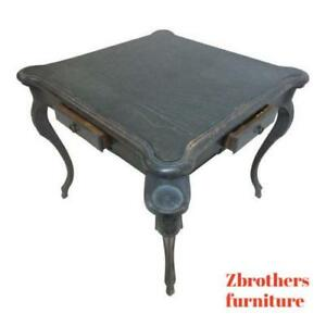 Antique-Italian-Regency-Carved-leather-Top-Game-Table