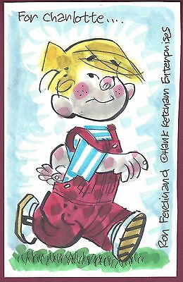 Ron Ferdinand Original Signed Dennis The Menace Sketch, COA, UACC RD 036