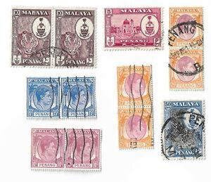 Malaya-Penang-postage-stamps-x-12-used-off-paper