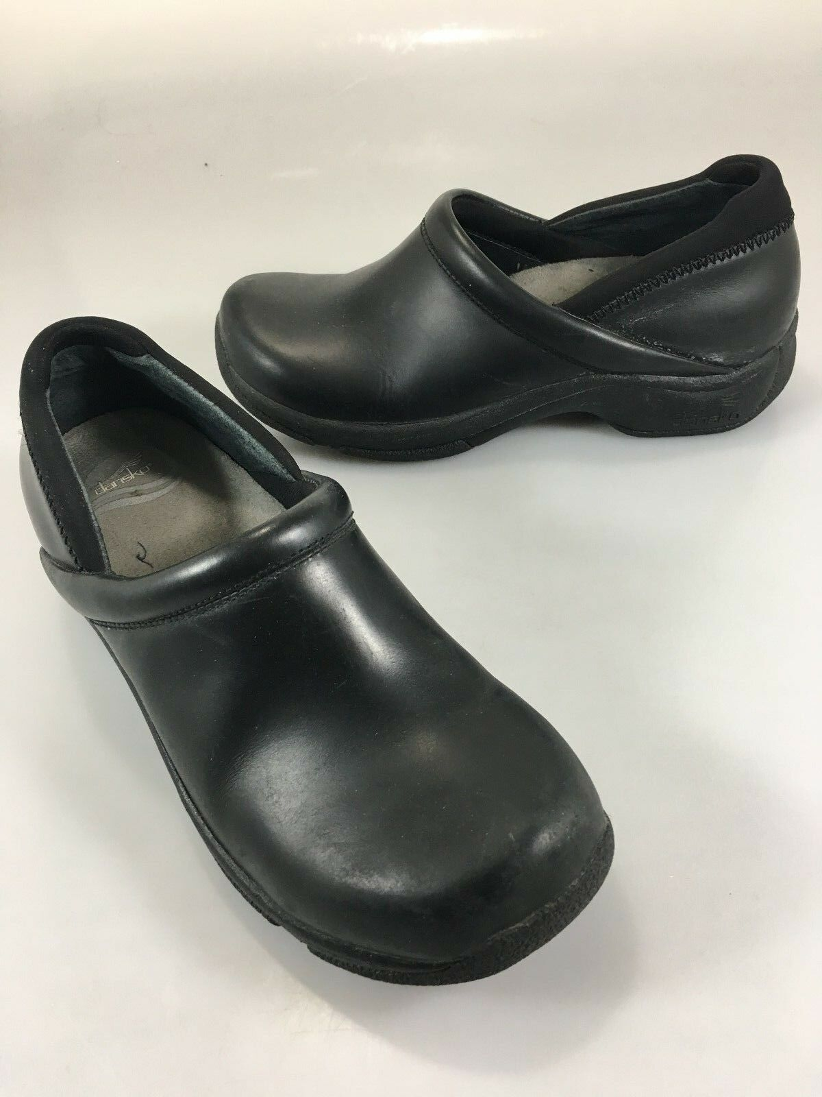 Dansko para mujer 39 39 39 EU 8.5-9 nos Negro Cuero Zuecos Mocs Zapatos 1  Tacones  Envío 100% gratuito
