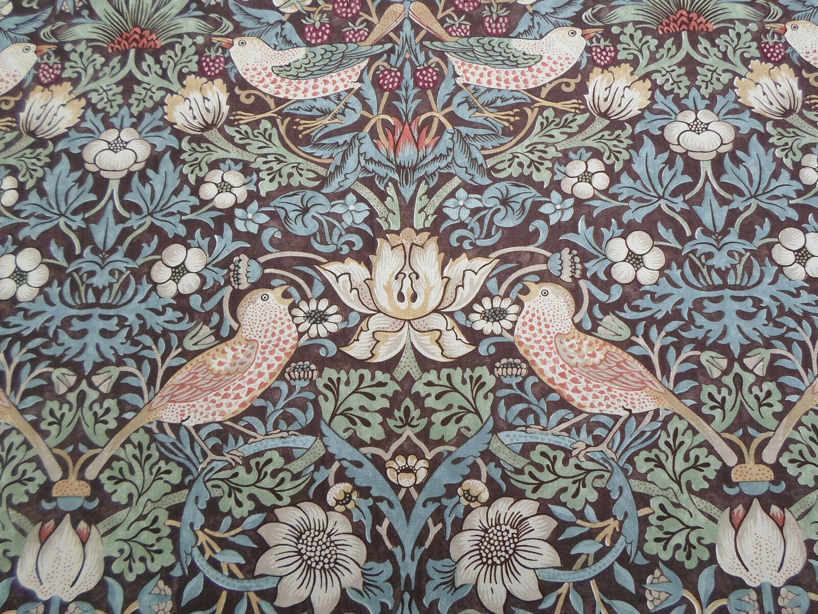 William Morris Curtain Fabric /'Strawberry Thief/' 2 METRES 200cm Chocolate//Slate