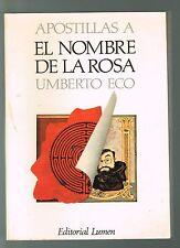 Umberto Eco Apostillas A El Nombre De La Rosa 1985 Spanish Italy