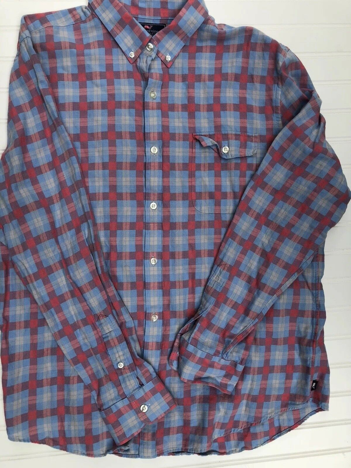 Vineyard Vines Men's XL Plaid Flannel Long Sleeve Shirt Slim Fit Crosby