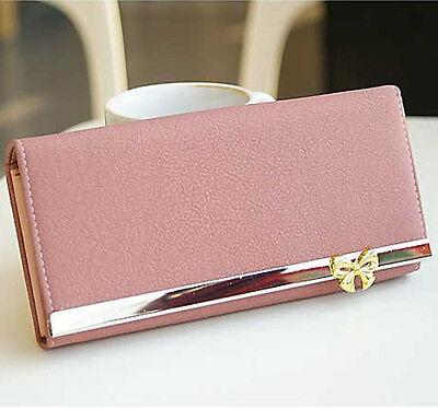 Lady Women Soft Leather Bowknot Clutch Wallet Long PU Card Purse Handbag