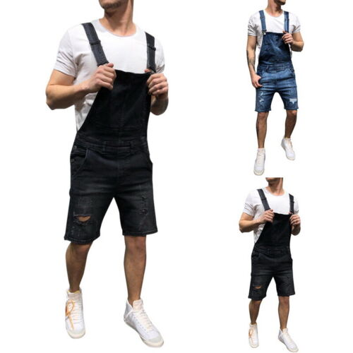 Mens Denim Dungaree Overalls Pants Trousers Work Jumpsuit Ripped Cargo Shorts