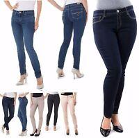 Jordache Women's Skinny Extra Stretch Denim Jeans 5 Pocket Mid Rise Blue Black