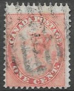 Canada 1859 1c Queen Victoria Sc 14 very nice used bright stamp see scans