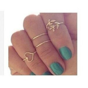 A-set-Rings-Urban-Gold-Plated-Crystal-Plain-Above-Knuckle-Ring-Band-MiNi-Ring