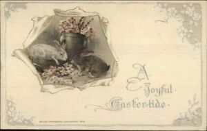 Winsch-Easter-Rabbits-amp-Flower-Vase-c1910-Postcard