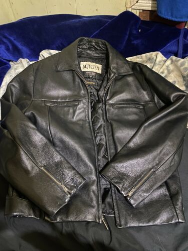 mens black leather jacket small