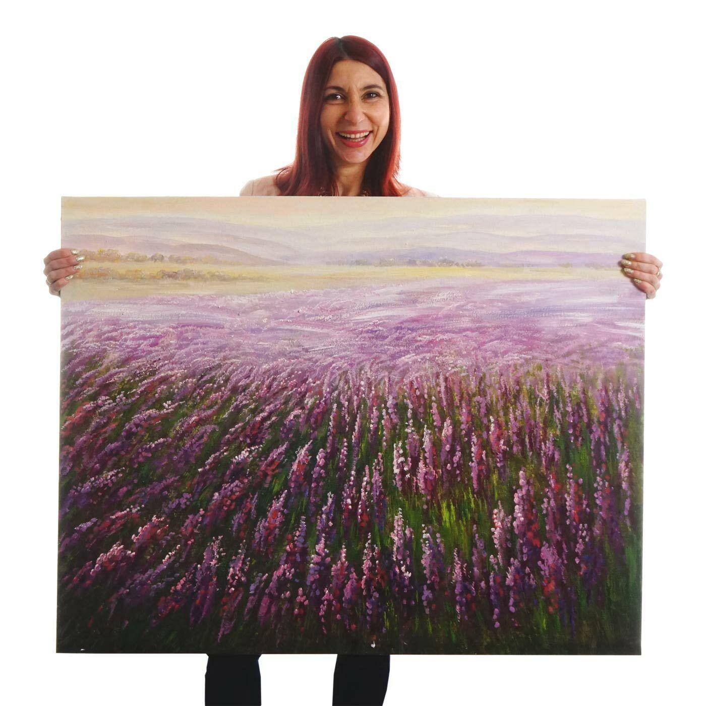 Ölgemälde Blaumenfeld, 100x80cm, 100% handgemaltes Wandbild Gemälde XL