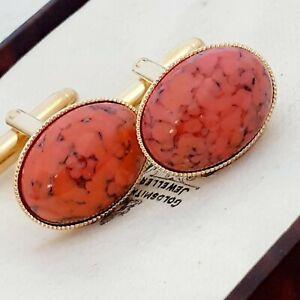 Vintage-CZECH-1950s-Coral-Orange-Peking-Glass-Oval-Gold-Plated-Cufflinks