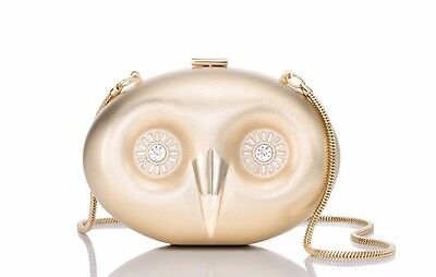 KATE SPADE Gold Metal Owl Handbag Mini Crossbody Clutch Purse NWT