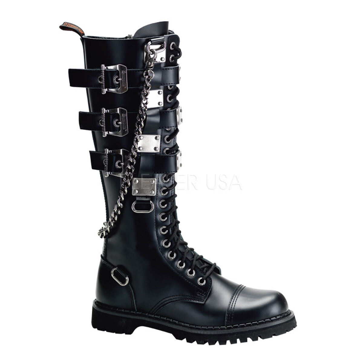 Demonia Gravel 23 Biker Unisex Goth 5 Punk Leather Negro botas 5 Goth Buckle Lace Up b67d45