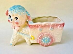 VINTAGE-LAMB-FLOWER-CART-PLANTER-NURSERY-BABY-SHOWER-GIFT-COLLECTIBLE-JAPAN