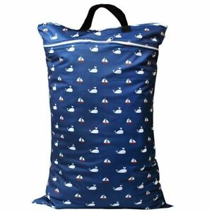 Waterproof-Double-Zip-Large-Wet-Bag-Whales-amp-Boats-40x70cm