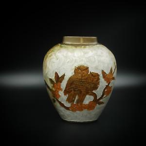 Vintage-Cloisonne-Brass-Enamel-Heavy-Flat-Vase-with-Owls-6-inch