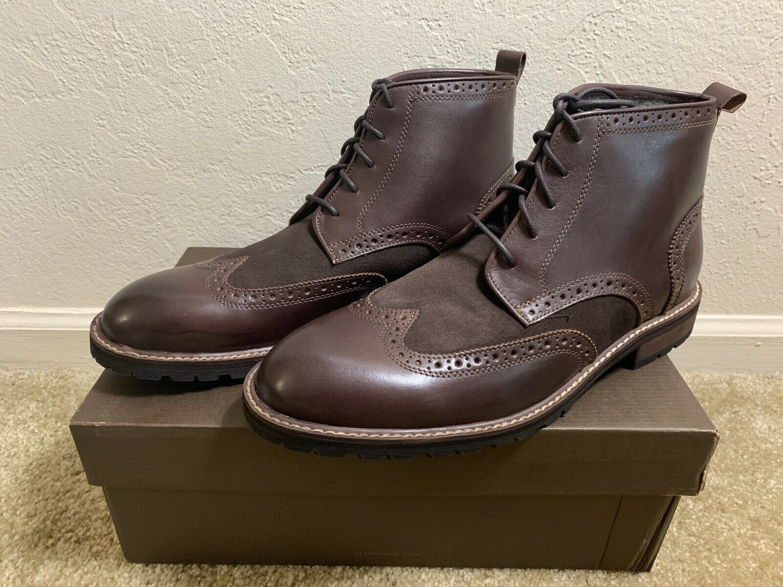 Brand New Florsheim Brannon Wingtip Leather Boot (SIZE 11M)
