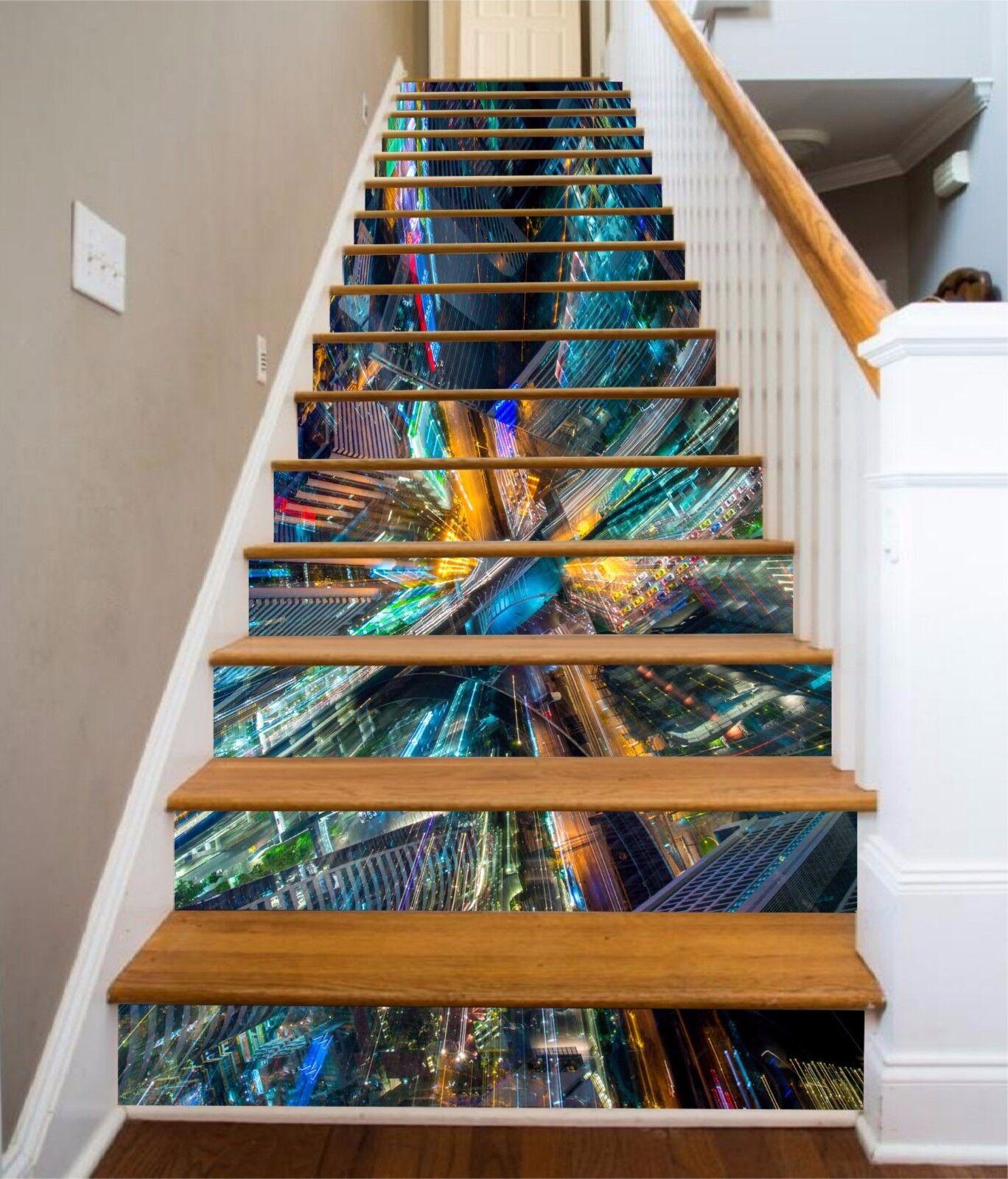 3D Couleur Buildings Stair Risers Decoration Photo Mural Vinyl Decal Wallpaper AU