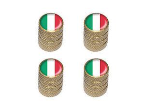 Italy-Italian-Flag-Tire-Rim-Valve-Stem-Caps-Gold