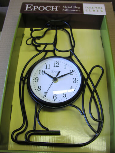 """Wrought iron frame Dog Silhouette Wall Clock 14.5/""""inches high VERY NICE GIFT-NEW"""