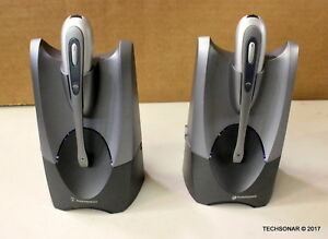 Lot-Of-2-Plantronics-CS-50-Tested-synced-to-base-Headset-System-Grey-Silver