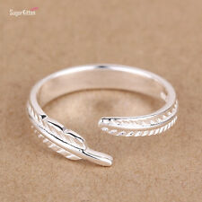 925 Sterling Silver Finger Toe Ring Angel Feather Open Band Adjustable Size N 2g