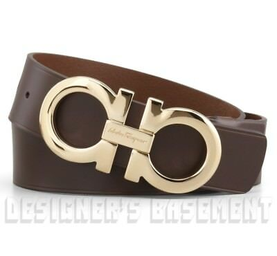 Salvatore Ferragamo Belt Brown Double Gancini Buckle Sz 42 Adjustable