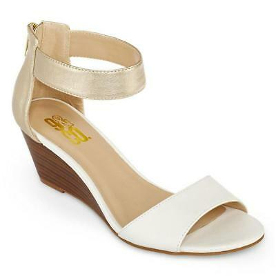 -orlando Wedge Sandals Color: White& Gold Size : 9 1/2 M b 9 & Co