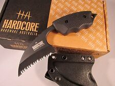 Hardcore Hardware LFK-01SG Serrated Tactical Fixed Black Blade Knife New