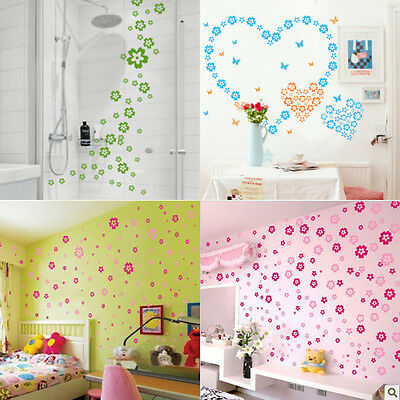 12Color 124 Flowers&7 Butterfly Wall Sticker Decal DIY Removable Home Decor Gift