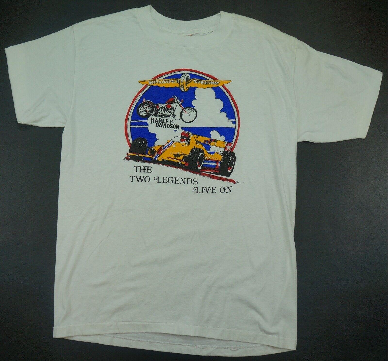 Rare Vintage NATIONAL Indianapolis Motor Speedway Harley Davidson T hemd 80s XL
