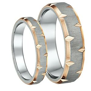 IP-Rose-Gold-Edged-Titanium-Wedding-Rings-4-amp-6mm-His-amp-Hers-Couples-Rings