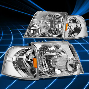 Details About Chrome Clear Headlight Amber Corner Signal Light For 2002 2005 Ford Explorer Suv
