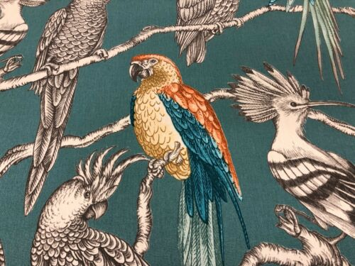 Parakeets//Parrot Teal Orange Cotton 140cm Curtain//Craft Fabric
