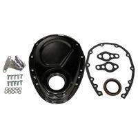 Sb Chevy Black Steel Timing Cover Kit W/ Timing Tab & Gaskets 283 327 350 400