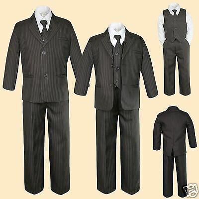 5pc Brown Infant Toddler Kid Boy Formal Tuxedo Suit Pinstripes New born to 12 yr