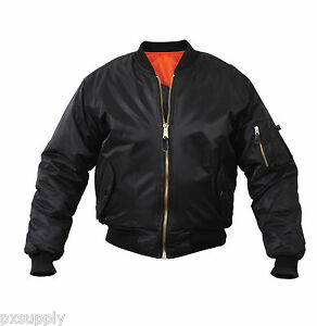 Black Military Air Force MA-1 Reversible Bomber Coat Flight Jacket ...