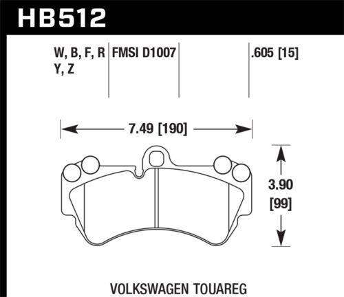 Disc Brake Pad Set-HPS Disc Brake Pad Front Hawk Perf HB512F.605