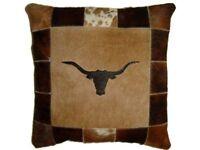 """Cowhide Pillow Cover Cushion Cow Hide Hair on cover.LONGHORN BULL TEXAS. 20""""x20"""""""