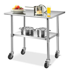 3624 Stainless Steel Work Table Commercial Grade Top Withlockable Wheels Silver