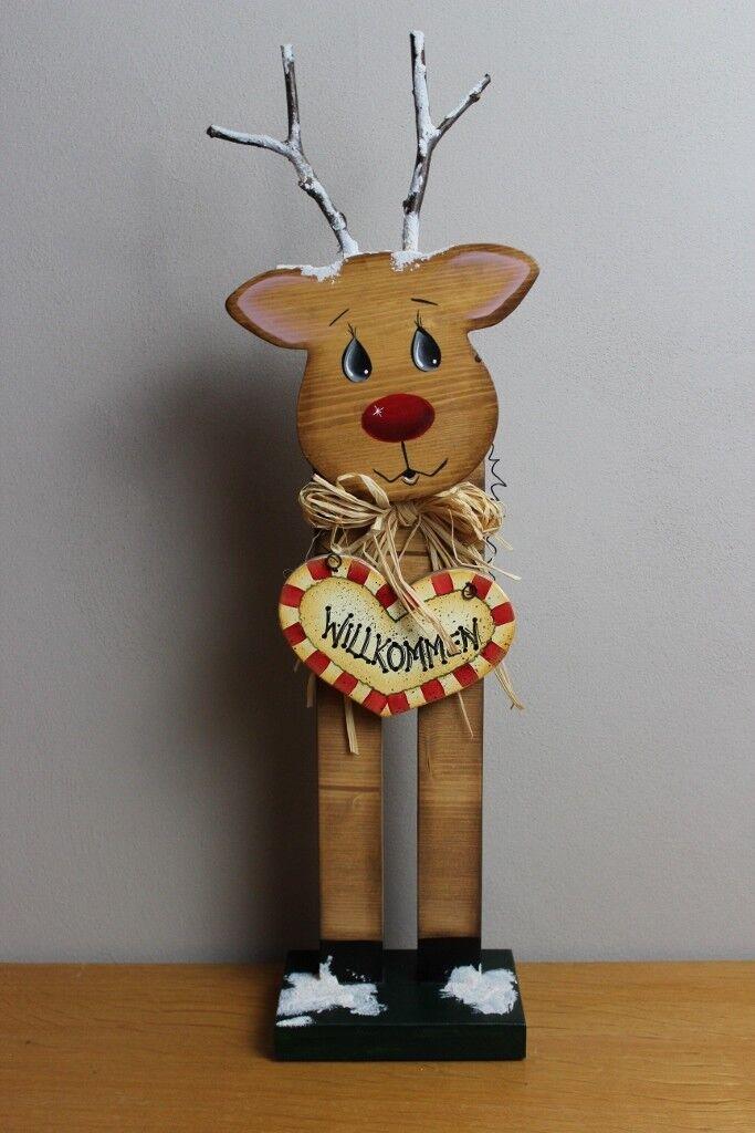 """Renntier Rudolf """"WILLKOMMEN"""" hangefertigt handbemalt Weihnachtsdeko Standfigur"""