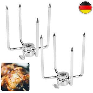 4* Spießgabel BBQ Fleischklammer Grillklammer Grillspieß Hähnchengrill Eisen