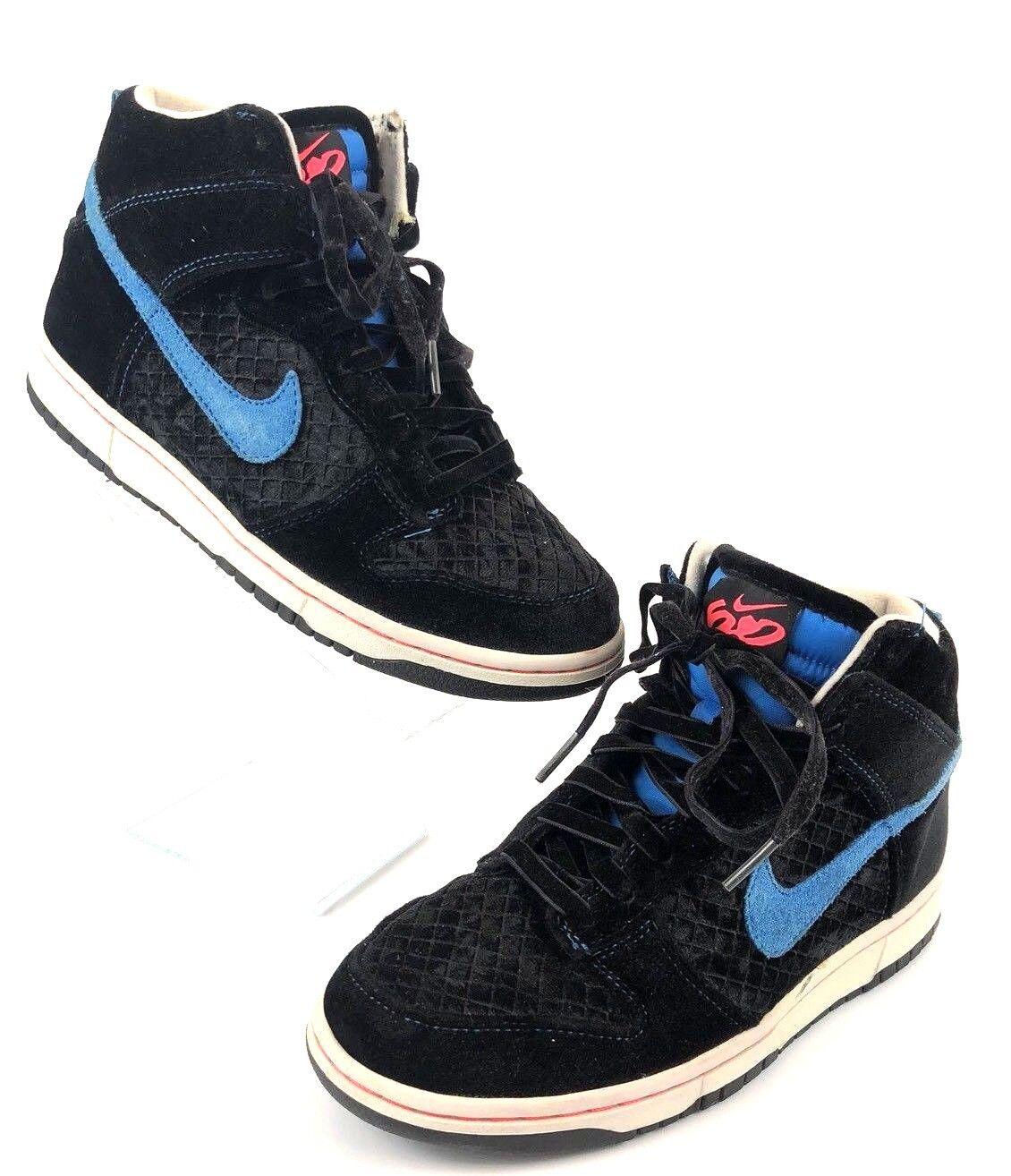 Nike 6.0 Dunk High Womens Sz 8 Black Blue 342257-002