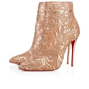 56a7c21c98f Details about Christian Louboutin GIPSYBOOTIE 100 Floral Lace Ankle Heels  Booties Boots $1195