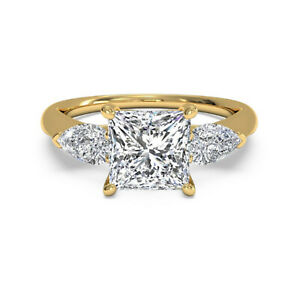 1.20 Ct Princess Moissanite Anniversary Superb Ring 18K Solid Yellow Gold Size 6