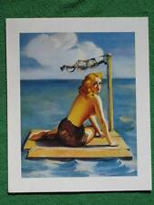 "Elvgren Pinup Girl Art 1940's Style ""Short on Sails"" Babe on Raft Bra for Sail !"